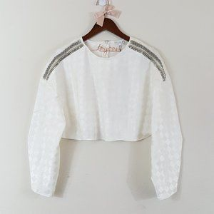 Endless Rose NWT White Checkered Jeweled Crop Top